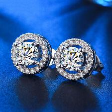 Silver Plated Runden Kristall Hochzeit Braut Stud Ohrringe Dangle Ohrringe