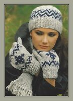 Ladies Hat, Mitts and Scarf in Fairisle Knitting Pattern Chunky 977