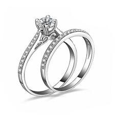 2Pcs Women Wedding Engagement Ring Set Gemstone White Gold Plated Rings Jewelry