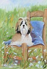 More details for shih tzu dog charming original oil painting sandra coen artist canvas dog lover