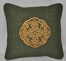 Ralph Lauren Rutherford Park Green Tapestry Gold Embroidered Custom Pillow