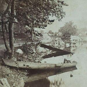 Ramapo River New York Village Rockland County Canoe Boat Trees Stereoview G216