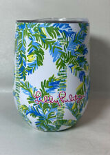 Lilly Pulitzer Stemless Tumbler Drink Cup Wine 12 oz Stainless Keep Palm