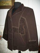 Veste blazer laine/viscose marron LEWINGER 40FR empiecements velours fleurs