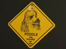 Poodle On Board Dog Breed Yellow Car Swing Sign Gift