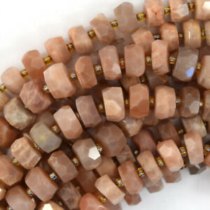 """10mm - 11mm natural faceted sunstone rondelle beads 15.5"""" strand"""
