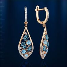Russian solid rose gold 585 /14ct London Blue Topaz earrings NWT. Very Beautiful