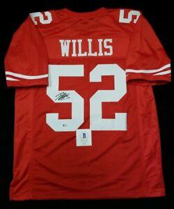 PATRICK WILLIS Autographed SAN FRANCISCO 49ERS Jersey RED SZ XL. WITNESS BECKETT