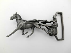 Harness Racing Horse Pewter Belt Buckle