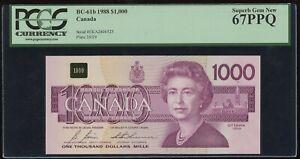 1988 Bank of Canada $1000 - PCGS Superb Gem New 67PPQ - Rare - S/N: EKA2806525