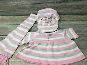 Build A Bear Workshop Winter Outfit Pink Silver White Striped Sweater Hat Scarf