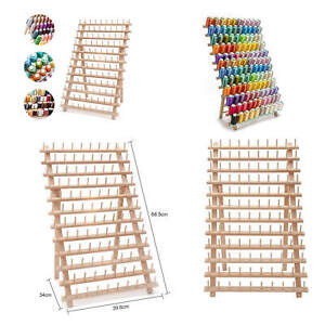 120 Spool Tailor Holder Rack Sewing Organizer Storage Bobbin Sew Wood Thread UK