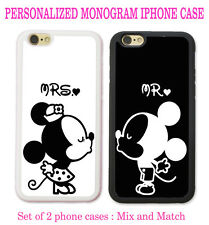 Personalize Black White Mouse Love Couple Kissing 2 Cases For iPhone 6S 6 SE 5S