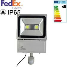 100W Cool White 2LEDs Flood Light IP65 Outdoor Lamp PIR Motion Sensor 85-265V