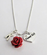 Personalized Flower Girl Necklace with Initial and Resin Rose Charm,Wedding gift