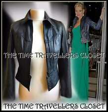 KATE MOSS TOPSHOP ICONIC MIDNIGHT BLUE CROP BUTTERSOFT LEATHER BIKER JACKET UK10