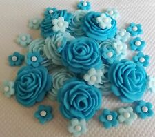 32 SHADES OF ICE BLUE EDIBLE ROSES, FLOWERS sugar cake decoration, wedding, anni