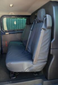 Black Tailored Waterproof Seat Cover Rear Crew Cab for Ford Transit Custom 2013+