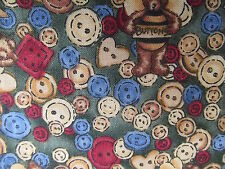 Teresa Kogut SSI cotton fabric quilting teddy bear bee BTHY buttons half yard