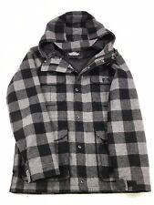 Penfield Mens Jacket Buffalo Plaid Black Gray Size L Hood Wool Blend Front Zip