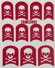 Nail Art Decal Stencil Stickers Skull & Bones Halloween XF.M035