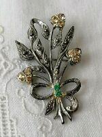 VINTAGE 40s Clear Diamante Paste Flower Spray Posy Silver Tone Retro Pin Brooch