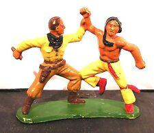 figurine starlux - série far west - cow boy contre indien à restaurer