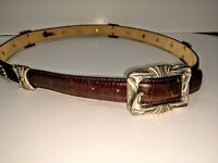 Italian Brown Leather Womens Vintage Belt With Silver Medallions Size Large