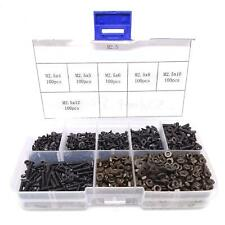 600pcs M25 Flat Head Black Screws With Nuts Washers Assortment Kit