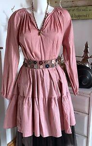 Nostalgia Tunika Maxikleid Dress Fraise Rose Langarm Oversize one size Neu
