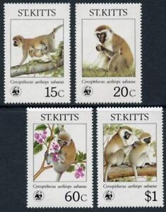St. Kitts: 1986 WWF Velvet Monkey (189-192) MNH