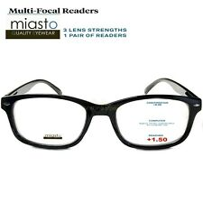 MIASTO MULTI-FOCAL RECTANGLE COMPUTER READER READING GLASSES +1.50 BLACK NO LINE