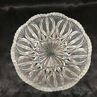 "Vintage Cut Clear Glass Bowl Sawtooth Edge 7"""