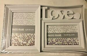 LOVE Heart Double Picture Frame-Shabby Chic Modern Farm House Style Global!