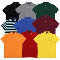 Polo Ralph Lauren Mens Polo Custom Slim Fit Mesh Collar Top New Prl S M L Xl Xxl