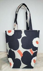 New! Marimekko Handmade Bag Tote Unikko Poppy Navy/Grey/Orange/White