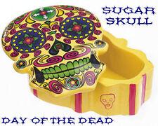 Yellow Day of The Dead Sugar Skull Jewelry Box Figurine Dia De Los Muertos NEW