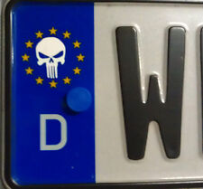 2x Euro Nummernschild Aufkleber EU Punisher Totenkopf Skull Totenschädel Hallowe