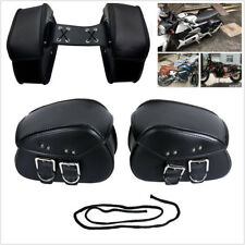 Universal Mini Pair Motorcycle PU Leather Side Saddle Luggage Bags Metal Buckle