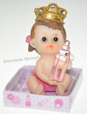 12 X RECUERDOS DE BAUTIZO BABY SHOWER FIGURINES PINK GIRL WITH CROWN CAKE TOPPER