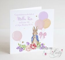 PERSONALISED PETER RABBIT NEW BABY Card - Congratulations Birth Baby Girl Pink