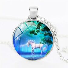 MOONLIGHT UNICORN NECKLACE Glass Pendant Chain Jewellery Gift Idea Womens Kids