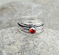 Garnet Stone Solid 925 Sterling Silver Spinner Ring Statement Ring Size M438