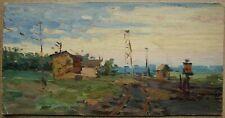 Russian Ukrainian Soviet Oil Painting realism impressionism railroad landscape
