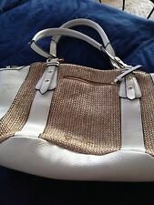 "Women's Jessica Simpson Handbag White & Tan beautiful condition approx 12"" x15"""