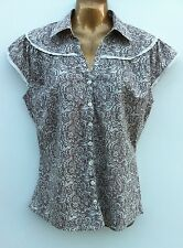 CASUAL CLUB DEBENHAMS Coffee & Cream Cotton Top Size 10 Lace Trim WORN ONCE