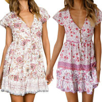 Womens Short Sleeve Wrap Boho Floral Mini Dress Ladies Summer V Neck Sundress