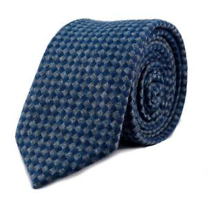 New Luxury Gentlemens Blue and Grey Skinny Country Tie -Tweed Woven Wool Style