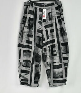 KEKOO brushed cotton mix abstract grey & black Trousers size M/L
