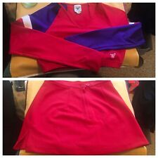Sexy Real Red & Purple Barr Midriff Cheerleading Outfit Size Is Small Adult (?)